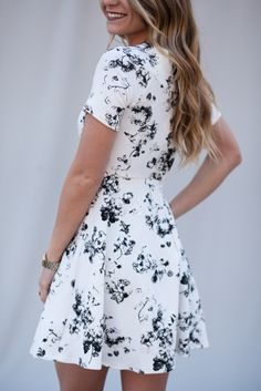Boatneck Flower Print Dress-Lotus Boutique