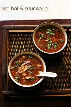 veg hot and sour soup recipe - spicy and hot soup made with mixed vegetables. an indo chinese step by step recipe.