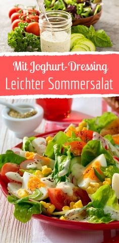Delicious summer salad with yoghurt dressing - Köstlicher Sommersalat mit Joghurt-Dressing Delicious summer salad with yoghurt dressing - Salad Recipes Healthy Lunch, Salad Recipes For Dinner, Chicken Salad Recipes, Easy Salads, Summer Salads, Mediterranean Quinoa Salad, Creamy Cucumber Salad, Food For A Crowd, Pasta Recipes