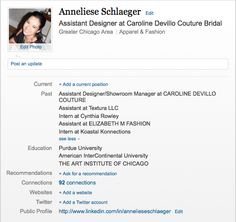 Check out my LinkedIn profile which further shows my qualifications. http://www.linkedin.com/in/annelieseschlaeger