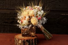 Rustic Pink Peony Bouquet Wedding Bouquet by SmokyMtnWoodcrafts, $49.00