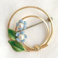 Krements Brooch Cultured Pearls 14K Gold Filled Enamel Flower