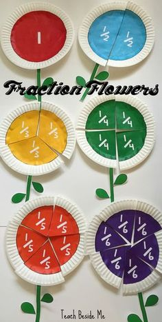 Printable fraction flower set for numbers 1-10.