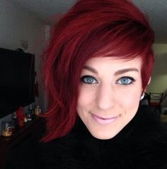 Asymmetrical red pixie, i miss my short hair. hmmm.....