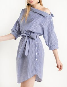Button-Side Striped Off-the-Shoulder Dress, $59; at Pixie Market