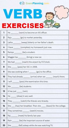 Verbs Exercises with Answers - Worksheet - ExamPlanning % English Grammar For Kids, Learning English For Kids, Teaching English Grammar, English Lessons For Kids, English Verbs, Grammar Lessons, English Vocabulary Words, Learn English Words, English Worksheets For Kindergarten