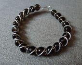 Bracelet wire wrapping en argent 925 et quartz fumé : Bracelet par debellissima