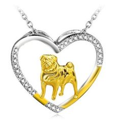 Pug Sterling Silver Heart Necklace