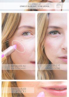 DIY MAKEUP : TEINT & LÈVRES AVEC 1 LIPSTICK ? Yes ! Une idée de makeup originale en moins de 5mn montre en main !  Idéal pour les matins compliqués ;)) RDV sur le blog > glossup-blog.com