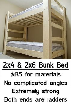 Easy, strong, cheap bunk bed. Would have to add rails on top for these restless girlies.