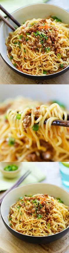 Vegan sub.Dan Dan Noodles – savory and spicy Sichuan noodles with ground meat. Dan Dan Mian (Noodles) is delicious. Learn how to make it with this easy recipe I Love Food, Good Food, Yummy Food, Asian Cooking, Pasta Dishes, Asian Recipes, Food To Make, The Best, Easy Meals