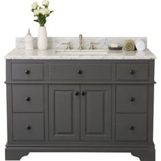 The Chela is a combination of contemporary and classical designs. The gorgeous maple gray finish compliments the beauty of the Italian carrara marble top and large rectangular sink. This piece of furniture will be the centerpiece of any bathroom.