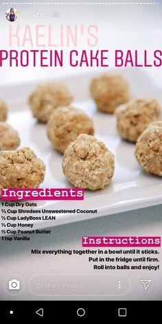 Lady's white protein balls Source by Healthy Protein Snacks, Protein Cake, Protein Foods, Healthy Sweets, Lean Protein, Protein Mix, Healthy Foods, Healthy Eating, Clean Eating