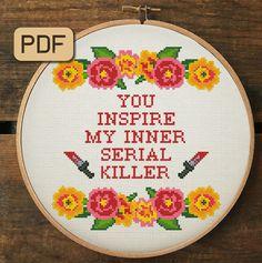Funny Cross Stitch Patterns, Cute Cross Stitch, Cross Stitch Kits, Cross Stitch Charts, Cross Stitch Designs, Funny Needlepoint, Needlepoint Patterns, Embroidery Hoop Art, Cross Stitch Embroidery
