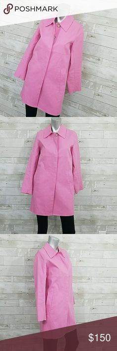 "🌂Coach Pink Raincoat Trench Size XS Beautiful Trench/Raincoat from Coach! Light pink with tan Coach logo print lining. Button front closure. Overall excellent condition with a light stain on the sleeve and some discoloration in the neckline (hasn't been dry cleaned, so it may come off). 18"" armpit to armpit, 32"" length shoulder to bottom hem.   🚭 All my items come from a smoke-free home 💰Bundle and save! I typically send additional bundle offers on bundles of 3+! PRICE FIRM UNLESS…"