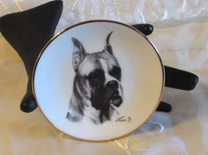 Miniature Black and White Dog Plate Boxer Picture by LasLovelies