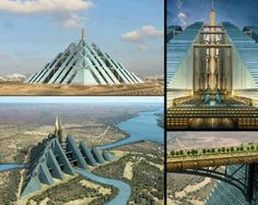 """Ziggurat Pyramid, Dubai  One of the World's largest proposed projects, It will house nearly one million people and will be self-sustainable with all natural-energy sources. Like the pyramids of the Mayans and Egyptians, this new structure in Dubai is a giant; it will cover 2.3 square kilometers (0.88 square miles) and will be able to sustain a community of up to one million people. The """"Ziggurat"""" is named after the temple towers of the ancient Mesopotamian valley. The building is green and…"""
