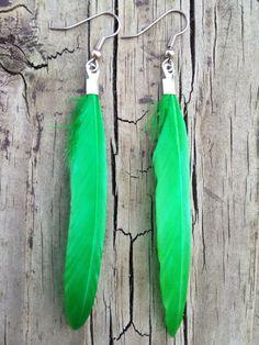 Green Feather Earrings - Feather Earrings - Feather Jewelry - Nature Jewelry - Natural Jewelry - Dyed Feather Jewelry on Etsy, $8.00