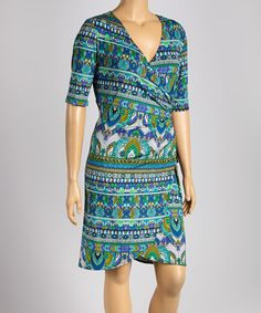 Take a look at the Tiana B Blue Abstract Wrap Dress - Plus on #zulily today!