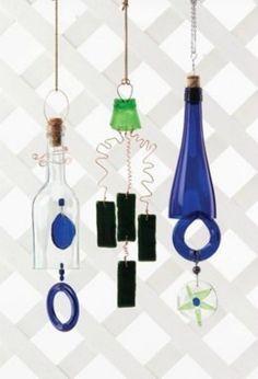 Make wine bottle wind chimes.