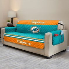 Miami Dolphins Quilted Sofa Cover, Multicolor