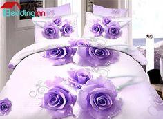 Brilliant Purple Rose Print 4-Piece Duvet Cover Sets #purplebedding #beddingsets #floral