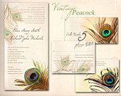 PEACOCK WEDDING INVITATION Printable Template - Vintage Teal and Green Peacock. $20.00, via Etsy.