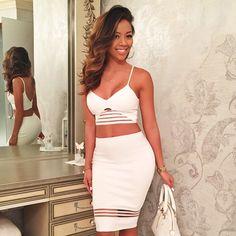 Cocaine White Bodycon Skirt Crop Top Mesh Midi Fashion Style Liane V