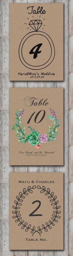 ※一時販売停止【完全オーダーメイド】クラフト紙を使ったヴィンテージ風 テーブルナンバー │ 結婚式 披露宴