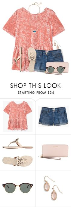 """QOTD: Whats the latest you've ever slept?"" by auburnlady ❤ liked on Polyvore featuring MANGO, J.Crew, Tory Burch, MICHAEL Michael Kors, Ray-Ban and Kendra Scott"