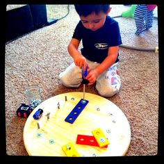 DIY Montessori Bolt Board http://thenotsoperfectmom.com/2013/04/15/diy-montessori-bolt-board/