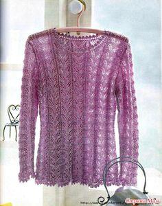 Нежный ажурный пуловер спицами.