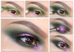 Smokey Eye Dark Green Step by step