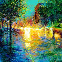 By Iris Scott | oil on canvas | finger painting | originals and prints | www.IrisScottFineArt.com | Yellow headlights fade perfectly into the early morning sky as dawn breaks over a street in Brooklyn.
