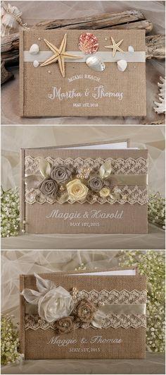 Rustic burlap wedding guest books