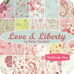I like this for a Spring Summer Quilt for our room. And the backing fabric.    Love & Liberty Fat Quarter Bundle Robyn Pandolph for RJR Fabrics