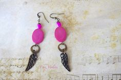 Fuchsia feather earrings Hot pink jewelry Pearl door chezviolette