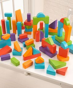 It's time to start building! The KidKraft 60 Piece Wooden Block Set helps kids work on shape recognition and eye-hand coordination. Toddler Preschool, Toddler Toys, Toddler Girl, Stacking Toys, Working With Children, Wooden Blocks, Boutique, Building Toys, Country Of Origin