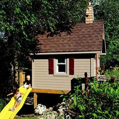 Slope Solutions. Clever design strategies can help solve potential site problems for a playhouse. This setup has the structure's front door at the top of a small rise in the yard; the house was then elevated, with a slide out the back.