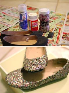 DIY: glitter flats This was the inspiration I used for my glitter shoes. I didn't use the top coat finish though. Cute Crafts, Crafts To Do, Crafts For Kids, Arts And Crafts, Diy Crafts, Handmade Crafts, Oyin Handmade, Crafty Craft, Crafty Projects