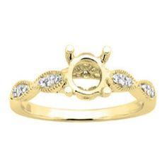 Elora Ladies' 14-karat Gold 1/6-carat TDW I-J, I2-I3 Round-cut White Diamond Semi-mount No Center Stone En (Yellow Gold - Size 10), Women's