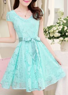 Sweet Short Sleeve Round Neck A Line Dress