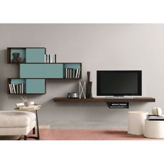 Looks like something straight out of the Sims ||| Stack Shuffle Storage TV Wall Unit | dotandbo.com