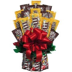 Chocolates & More Candy Bouquet - Chocolate really is the foundation from which all other candy springs, as proven by the Chocolates & More Candy Bouquet . This incredible candy bouquet. Candy Bar Bouquet, Gift Bouquet, Boquet, Candy Arrangements, Candy Centerpieces, Centerpiece Ideas, My Funny Valentine, Valentines, Homemade Gifts