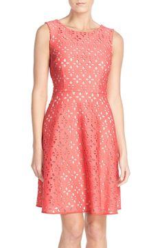 Adrianna Papell Cutout Scuba Fit & Flare Dress