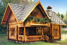 Cabins and Cottages: Small Cottage Garden Design - Tiny Garden Cottage Tiny House Cabin, Log Cabin Homes, House With Porch, Cottage Homes, House In The Woods, Log Cabins, Rest House, Small Cottage House Plans, Cottage Interiors