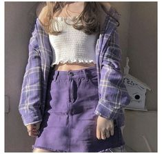 Indie Outfits, Grunge Outfits, Lila Outfits, Purple Outfits, Korean Outfits, Cute Casual Outfits, Skirt Outfits, Pretty Outfits, Fashion Outfits