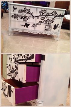 Refinished dresser! Birds and tree done in black acrylic all free hand! Matching vanity coming soon! Reduce reuse recycle DIY
