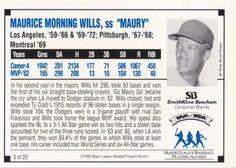 1992 SmithKline Beecham MVPs for MDA #3 Maury Wills Back