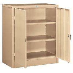 for garage Salsbury Industries 9000 Series 42 in. H x 18 in. D Counter Height Storage Cabinet Unassembled in Tan-9048TAN-U at The Home Depot